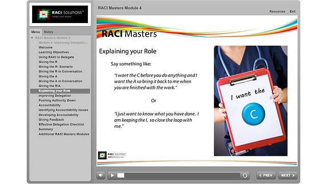 RACI Masters Explaining Your Role