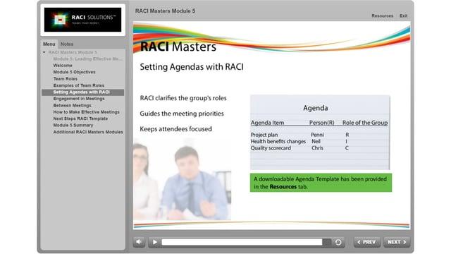 RACI Masters Setting Agendas with RACI