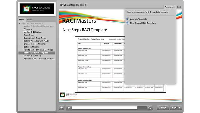 RACI Masters Next Steps RACI Template